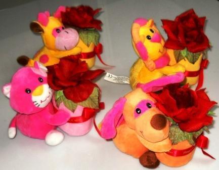 Peluches con rosa rossa  in 4 modelli