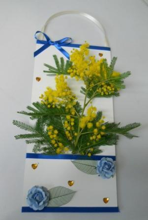 Busta mimosa x 10  H 37,5 x 16.5  con tasca e decoro raso
