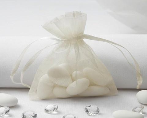 Sacchetto organza cm.10 x 7 porta confetti con tirante