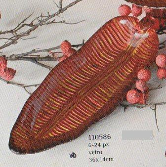 Vassoio foglia in vetro rosso venato Articolo per S. Valentino - Sconti per Fioristi e Aziende