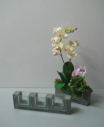 Cubi Vetro con base Legno  H 8 in 2 lunhezze Modello Cano