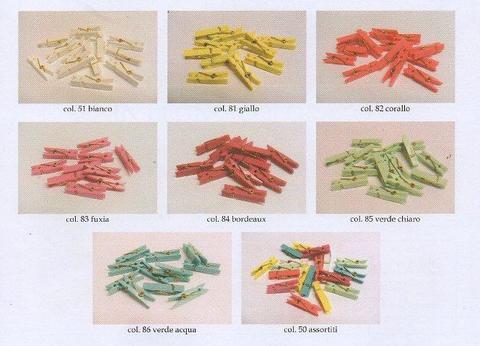 Mollette in Plastica mm. 37 X 6 conf. 24 pezzi Color Pastello