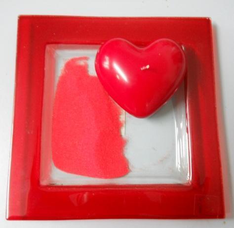 Candela cuore laccato  box 3 pezzi