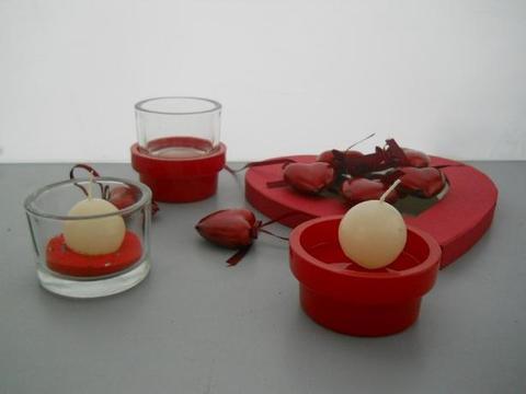 Portacandele   con ceramica rossa