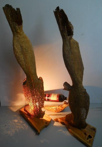 Strutture in trama di fico  H 90 si base legno d'olivo