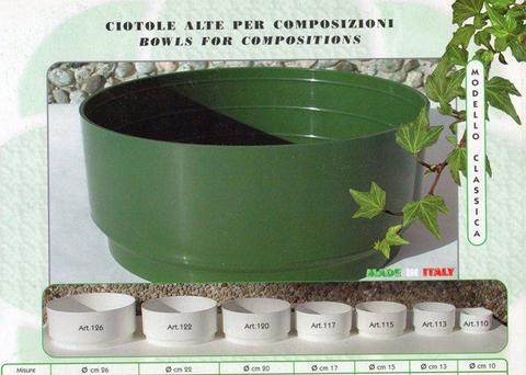 Ciotola Tamburella dm. 20 H 9 in plastica Verde - Sconti per Fioristi e Aziende
