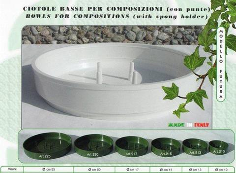 Ciotola Bassa cm. 25 H. 4.5 in plastica Verde - Sconti per Fioristi e Aziende