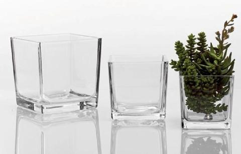 Cubetto  in vetro trasparente  cm. 18x18x18