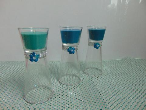 Candela clessidra x 3  color tiffany