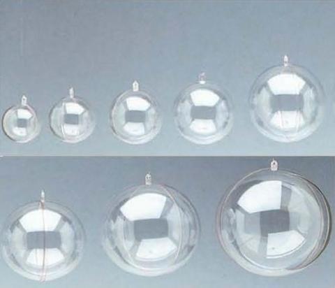 Sfere plexiglass apribili Ø 4 - 5 cm. trasparente Confezione da 20 pezzi