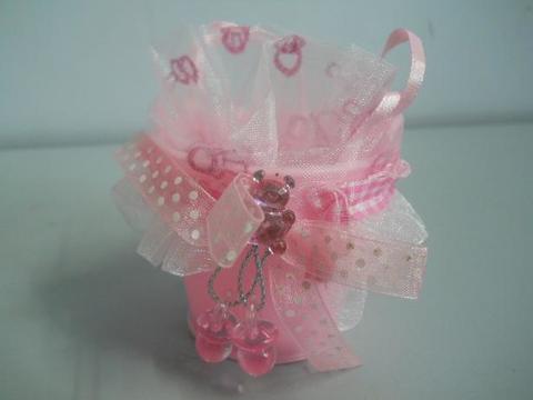 Secchielli portaconfetti per nascita color rosa