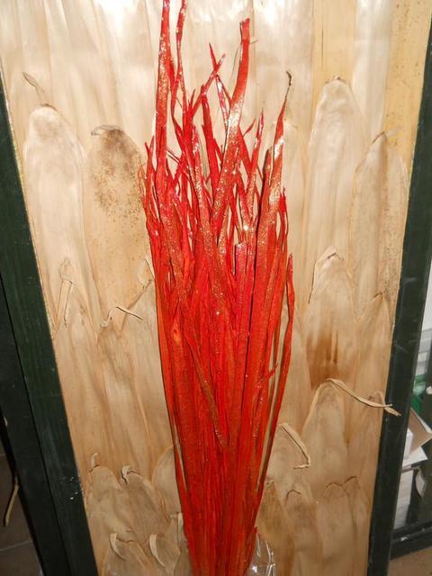 Foglie di Tipha Rosso H 150 con glitter