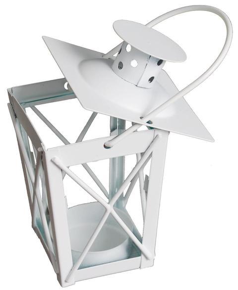 lanternina in metallo color bianco H 12  conf. 36 pezzi