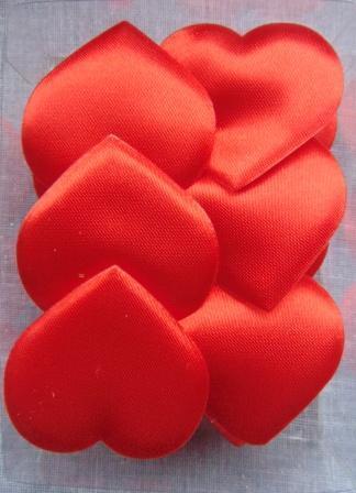 Cuori in raso rosso mm. 40  box 30 pezzi