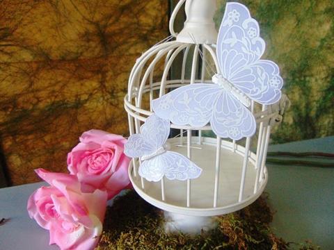 Farfalle x 12 Bianco confetto con clip per fioristi e wedding