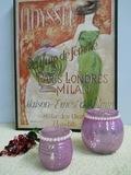 Vasetto Porta candela  in vetro Lilla in 2 modelli