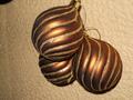 Palline x 3 bronzo con decoro glitter