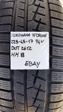 PNEUMATICO USATO YOKOHAMA W DRIVE 225 45 17 94 V GOMMA INVERNALI YOKOHAMA V905