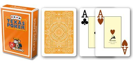 CARTE TEXAS POKER MODIANO PL 25 DORSO ARANCIO