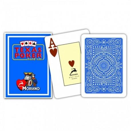 CARTE TEXAS POKER MODIANO PL 25 DORSO BLU