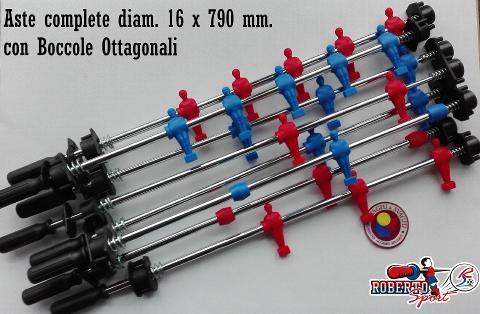 ASTE COMPLETE OMETTI ROSSO/BLU ROBERTO SPORT DIAM. 16 X 790 MM BOCCOLA OTTAGONALE/ EXPORT