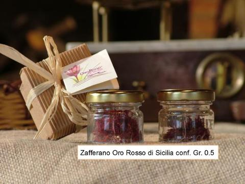 Zafferano in Confezione da 0.5 GR Oro Rosso di Sicilia Conf. Gr 0.5