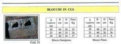 Blocchi in CLS  in cemento  ADRANO CALCESTRUZZI s.r.l. SONO PRODOTTI IN CALCESTRUZZO  VIBRO-COMPRESSO