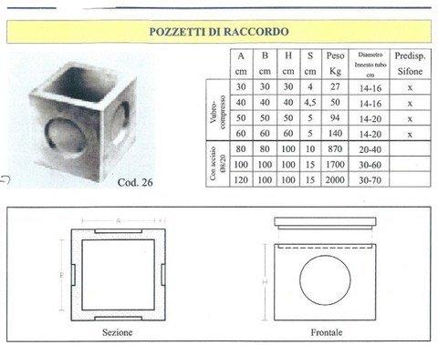 Pozzetti di raccordo  in cemento  ADRANO CALCESTRUZZI s.r.l. SONO PRODOTTI IN CALCESTRUZZO  VIBRO-COMPRESSO