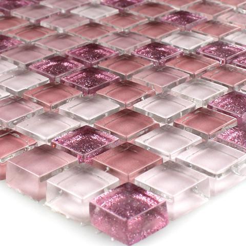 Mosaico vetro su rete 30x30 glicine/glitter