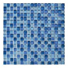 Mosaico vetro su rete 30x30 azzurro/glitter Mosaico Tre Alba