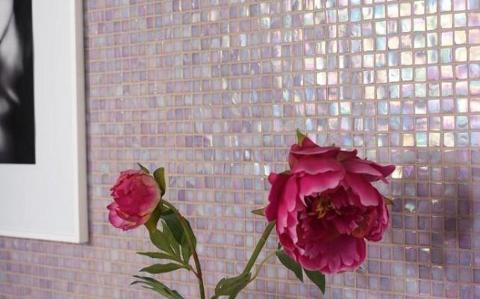 Mosaico pasta di vetro foglio 30x30 Stone & Glass Iridium Rosa