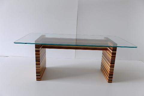 Tavolo in Vetro con piedi in Multilegno Invenzione d'Arredamento Rettangolare