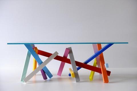 Tavolo in Vetro con piedi Multicolor Invenzione d'Arredamento Rettangolare