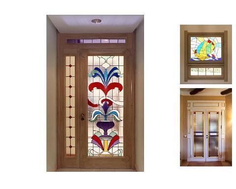 Portone di Ingresso in Legno e Vetro Multicolor Invenzione d'Arredamento Design
